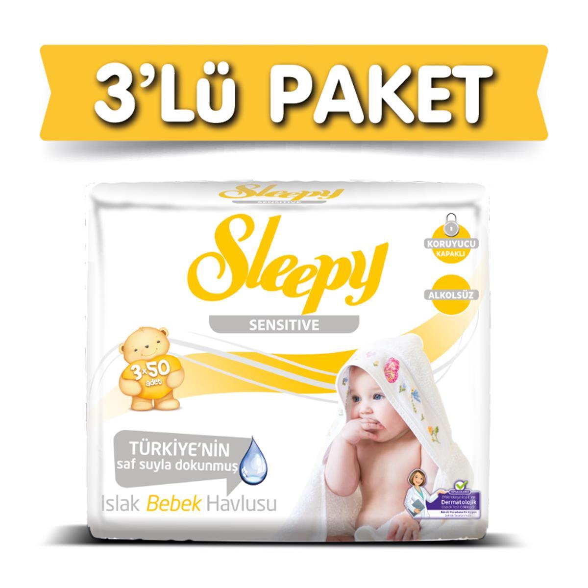 Sleepy Islak Mendil Sensitive Islak Havlu 50 Adet X 3 Adet