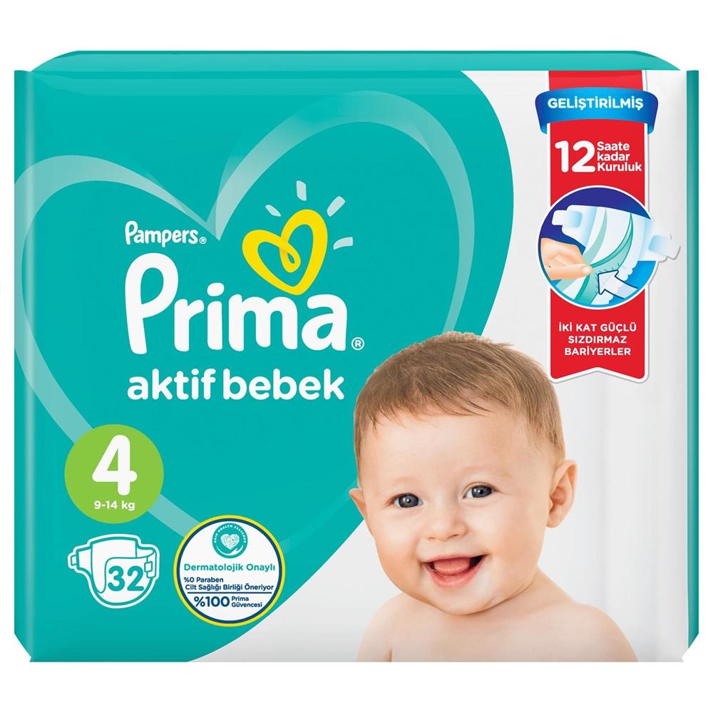 Prima Bebek Bezi Aktif Bebek 4 Beden 32 Adet Standard Paket