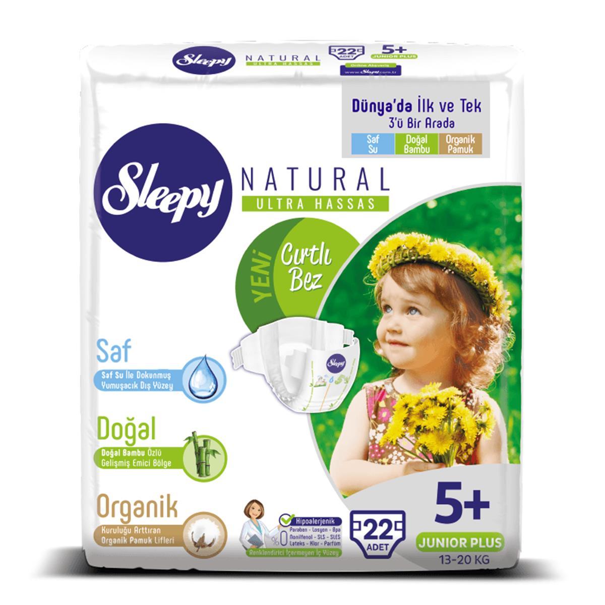 Sleepy Natural Bebek Bezi 5+ Numara 13-20 Kg Junior Plus 22 Adet