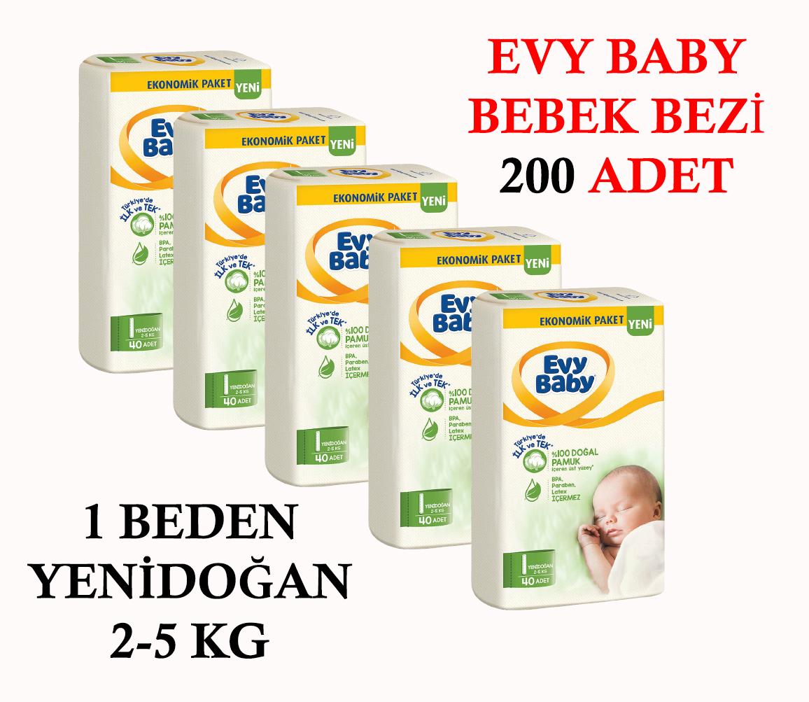 Evy Baby Bebek Bezi 1 Beden Yenidoğan 2-5 Kg 5 li Set 200 Adet