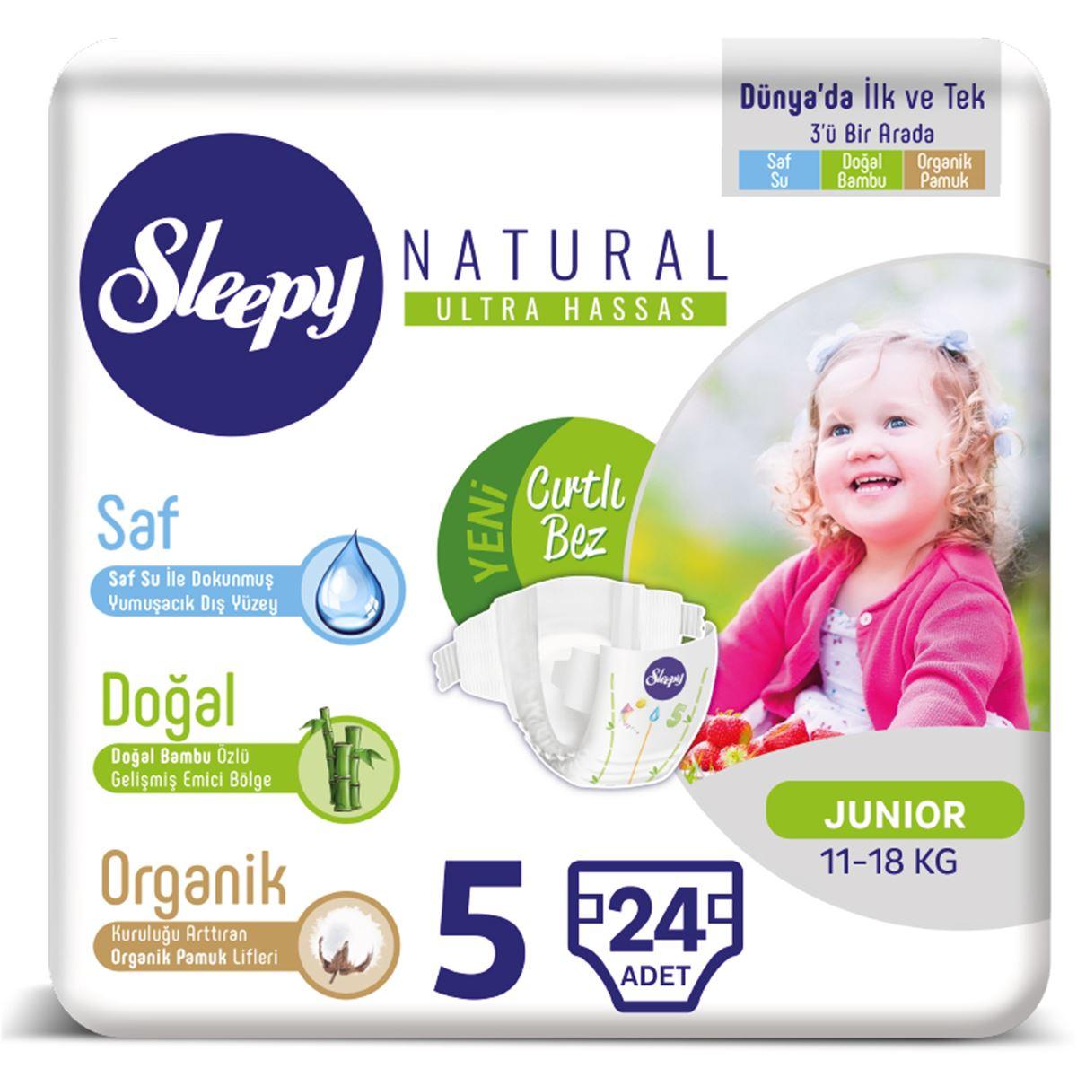 Sleepy Natural Bebek Bezi 5 Numara 11-18 Kg Junior 24 Adet