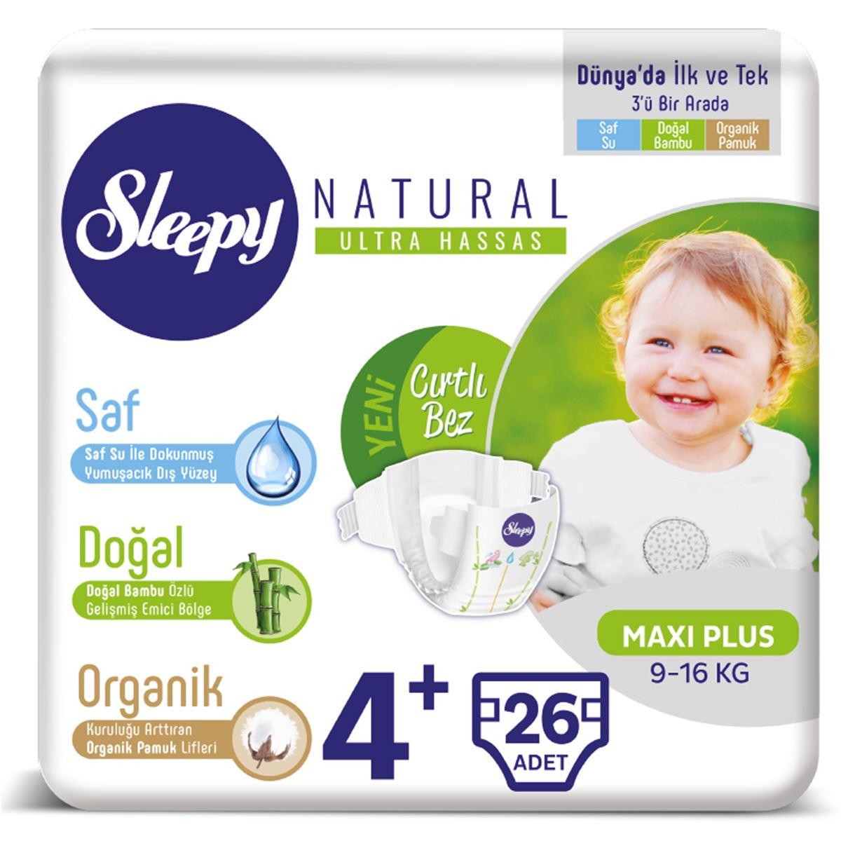 Sleepy Natural Bebek Bezi 4+ Numara 9-16 Kg Maxi Plus 26 Adet
