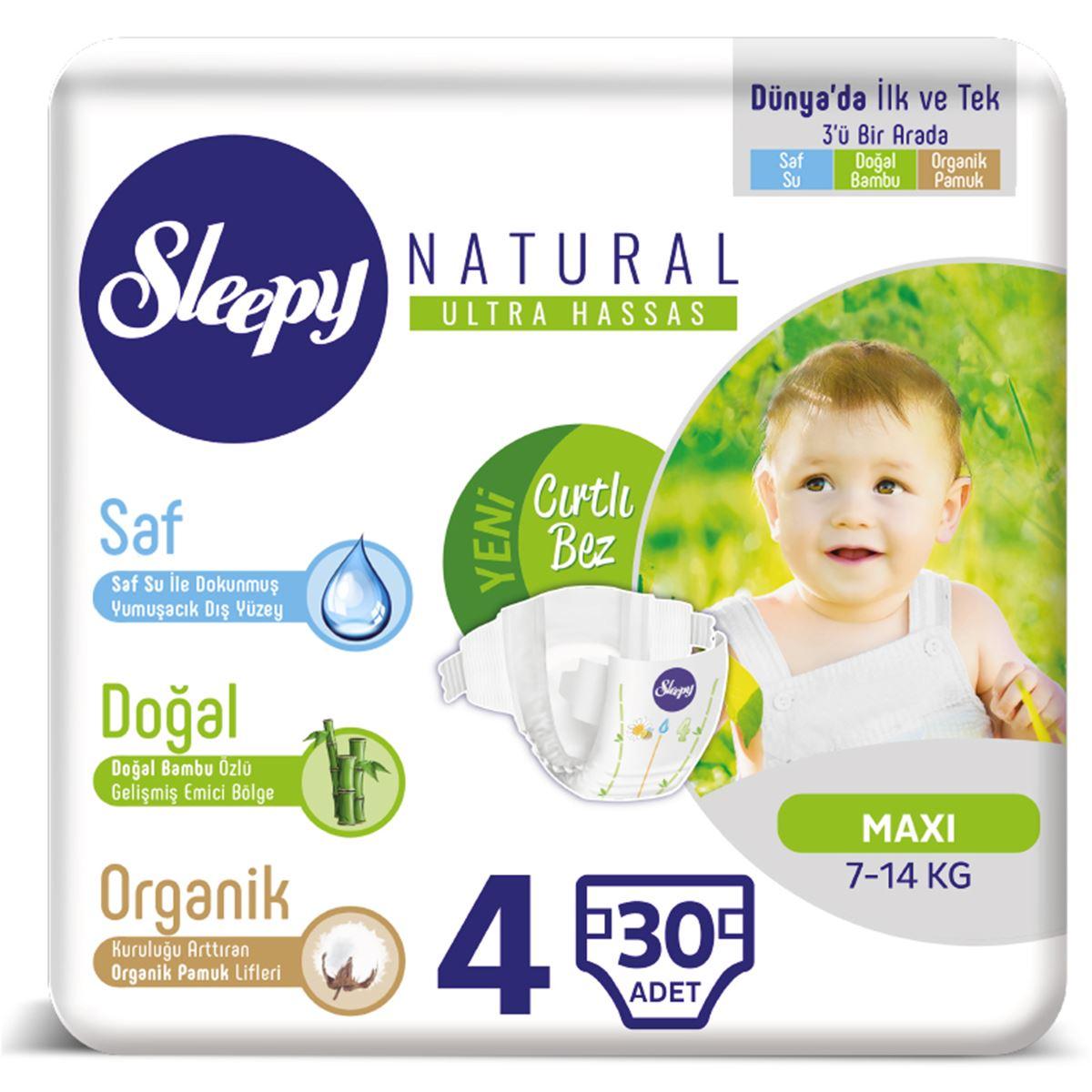 Sleepy Natural Bebek Bezi 4 Numara Maxi 7-14 Kg 30 Adet
