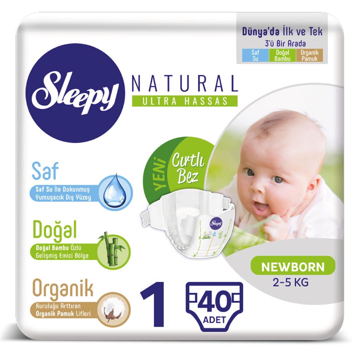Sleepy Natural Bebek Bezi 1 Numara 2-5 Kg Yenidoğan 40 Adet