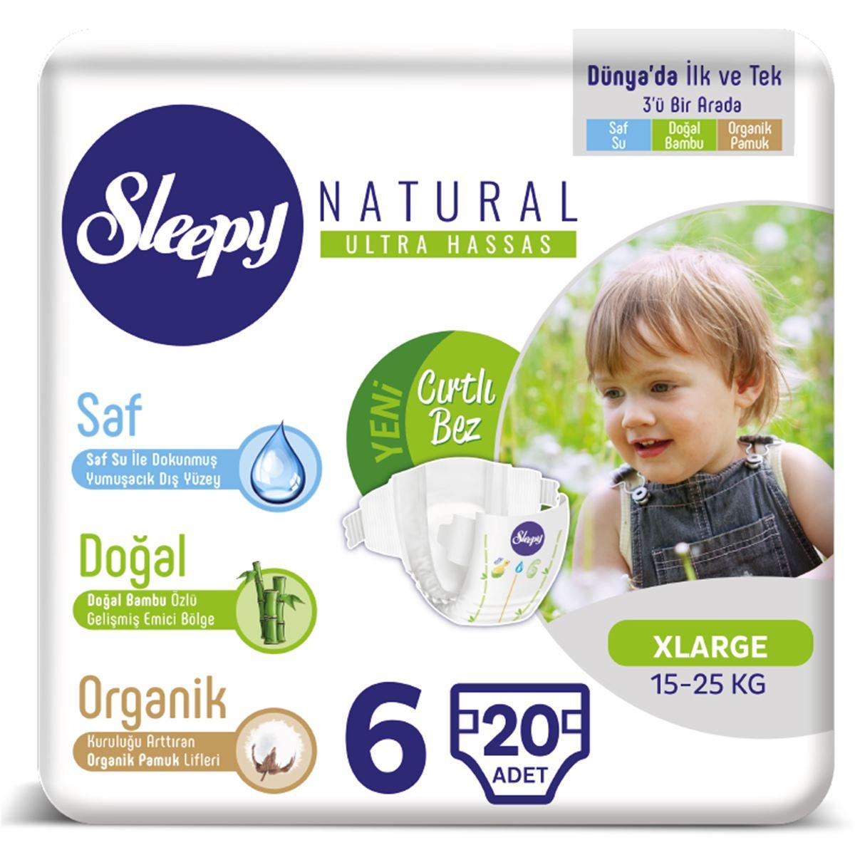 Sleepy Natural Bebek Bezi 6 Numara 15-25 Kg Xlarge 20 Adet